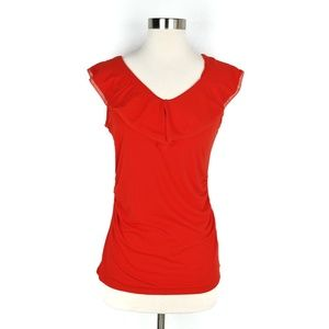 ]WHBM S Orange V Neck Sleeveless Blouse Ruffle